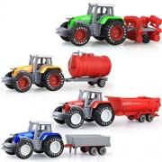 4Pcs/set Engineering Truck Toys Children Model Alloy Farm Tractor Xmas Vehicles Models Gifts