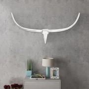 Декоративна алуминиева глава на бик за стена, сребриста, 125 см