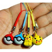 4pc Pikachu and PokeBall Charming Strap JINGLE BELLS Dangle Figures by Bell Pendant