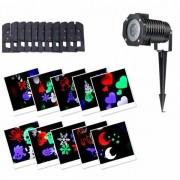 Proiector Led RGB 4 anotimpuri pentru exterior cu 12 diapozitive interschimbabile