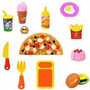 Fun Pizza Party Fast Food Pretend Cooking Cutting Play Set Toy for Kids Pretend Pizza Cutting Play Set