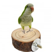 8CM Parrot Wooden Perch Platform Hanging Cage Round Stand Holder Coin Pet Bird