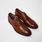 River Island Mens Tan leather toecap lace-up oxford shoes (Size 8)