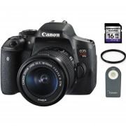 Camara Reflex Canon T6i Lente 18-55mm IS STM + 16gb + C. Remoto + Filtro UV - Negro