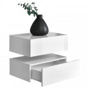 [en.casa]® Zidni noćni ormarić - Set od 2 komada - mat bijelo/lakirano bijelo - 46x30x15cm