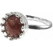 Inel argint reglabil coroana cu Piatra Soarelui maro 8 MM