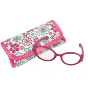 """18 Inch Doll Pink Sunglasses & Case, 2 Pc. Set, Perfect for 18"""" American Girl Dolls Clothes & More! Hot Pink Doll Glasses & Floral Print Eyeglass Case."""