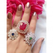 American Diamond Gold Plated Fancy Ring 3Pc Combo Buy American Diamond Ring Combo online