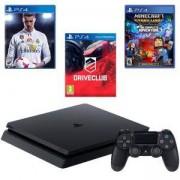 Конзола PlayStation 4 Slim 500GB Black, Sony PS4+Игра FIFA18+Игра Minecraft: Story Mode+Игра DRIVECLUB