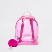 River Island Girls Pink glitter jelly backpack (One Size)