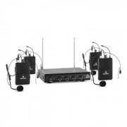 Auna VHF-4-HS Juego de micrófono inalámbrico VHF de 4 canales con 4 micrófonos c