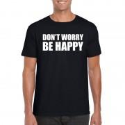 Shoppartners Dont worry be happy fun t-shirt zwart voor heren