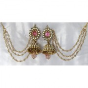 Pink Drop Jhumka With Pearl Ear Chain Earring