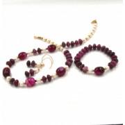 Set colier cercei si bratara din agate jad si perle de cultura 50 cm Abysor