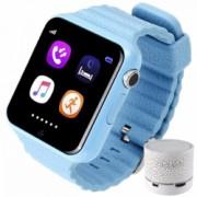 Smartwatch cu GPS Copii si Seniori iUni V8K Pedometru Touchscreen 1.54 inch BT Notificari Camera Blue + Boxa Cadou Bonus Bratara Roca Vulcanica unisex