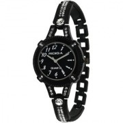 RIDIQA Analog Crystal Studded Black Dial Stainless Steel Wrist Watch ForGirls Women-RD-078