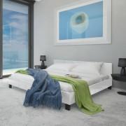 vidaXL Säng 180 x 200 cm Vit konstläder med madrass