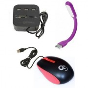 Q3 Q8N High Speed Ergonomic Design USB Mouse with 4Port USB HUB USB Light(Purple Red Black)