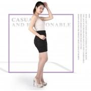 EH Mujeres De Encaje De Cuero De Gamuza Lápiz Falda Cruz Alta Cintura Bodycon Faldas Cortas M - Negro