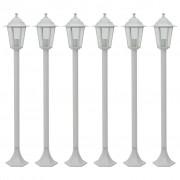 vidaXL Градински стълбове, 6 бр, E27, 110 см, алуминий, бели