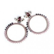 Cercei handmade cristale si perle Swarovski pe cerc de argint 925 Roz si Negru