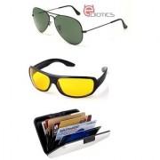 Ediotics Attitude Green Aviator Sunglasses Yellow Night Driving Sunglasses Alumi Wallet Combo