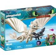 Set Playmobil Dragons - Light Fury, Pui De Dragon Si Copii 70038