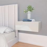 vidaXL Нощни шкафчета за стена 2 бр силен бял гланц 40x30x15 см ПДЧ