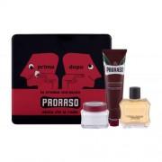 PRORASO Red After Shave Lotion подаръчен комплект афтършейв 100 ml + крем за бръснене 150 ml + крем преди бръснене 100 ml + метална кутия за мъже
