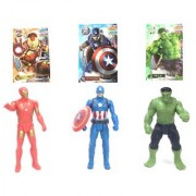 Super Hero marvel avengers character Toys with Cards Pack of 3 (Multicolor)