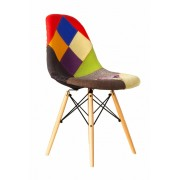 Replica Eames DSW Eiffel Dining Chair - patchwork - plastic, black steel, natural wood legs