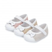 Pisamonas Sapatos Mercedita Bebé Napa e Camurça Brilhos