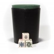 Cubilete Profesional, Vaso Estriado Verde. Incluye 5 Dados De Poker