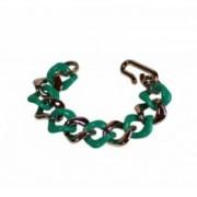 Náramek zlatý řetěz barevný plast 41245 Tmavě zelená 41245