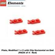 Lego Parts: Plate, Modified 1 x 2 with Clip Horizontal on End (PACK of 4 - Red)