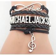 Ötsoros bőr Michael Jackson karkötő