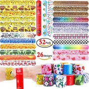 GeMoor 52 Pcs Slap Bracelets Bands for Kids Snap Bracelet with Colorful Hearts Emoji Birthday Christmas Party