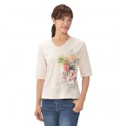フラワー VネックTシャツ【QVC】40代・50代レディースファッション
