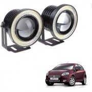 Auto Addict 3.5 High Power Led Projector Fog Light Cob with White Angel Eye Ring 15W Set of 2 For Fiat Punto