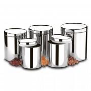 Conjunto de Potes Para Mantimentos 05 Peças Brinox Ref: 2100/101