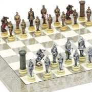 Medieval Chessmen & Greenwich Street Chess Board From Spain.