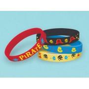 Bratari din silicon pentru copii Pirati, Amscan 397242, Set 4 buc