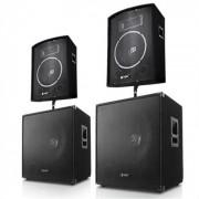 Skytec Pack Sono DJ PA 2x enceinte 2x subwoofer 46cm 1000W