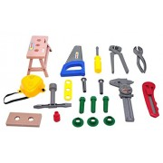 Take along kid's toolset from Little Treasures 20 pcs deluxe tool series pretend play tools playset with saw and...