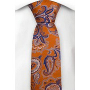Notch Smal Slips i Siden - Orange twill med paisley i blått och silver - Notch AGNI