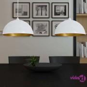 vidaXL Stropna svjetiljka 2 kom podesive visine polukuglasta bijela