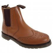 Grafters Unisex Brogue Gusset Dealer Boots Tan 5 UK