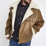 River Island Mens Big and Tall Tan borg lined biker jacket (XXXXL)