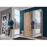 Lifestyle4Living Schwebetürenschrank 2-trg. in Plankeneiche-Nachbildung mit Absetzungen in graphit und 1 verspiegelten Tür, Maße: B/H/T ca. 135/198/64 cm