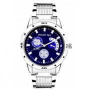 Golden Bell Original Blue Dial Steel Chain Wrist Watch for Men